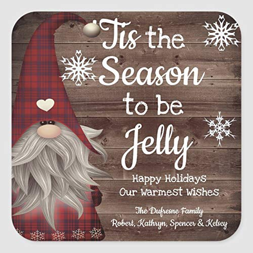 Square Sticker Labels - Tis The Season to Be Jelly Personalized Jar Label 2 x 2 Inch Office Label Sticker Vinyl Stickers Labels for Business, Weddings, Birthday Parties, Gifts, Set of 30
