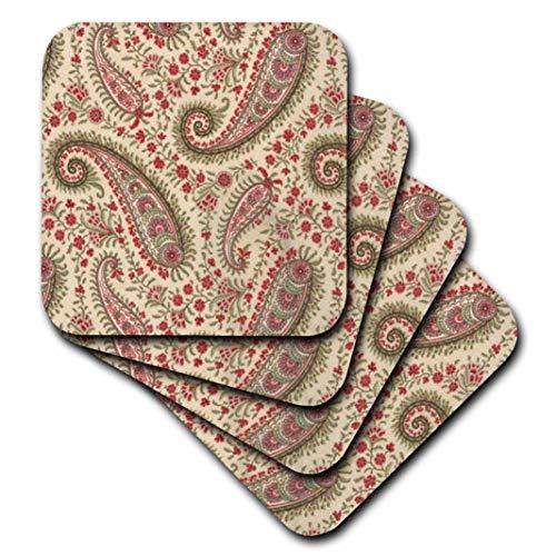 3dRose Florene–Paisley–Oliva Verde Rojo N Crema Paisley–Posavasos–Set de 8Posavasos–Suave