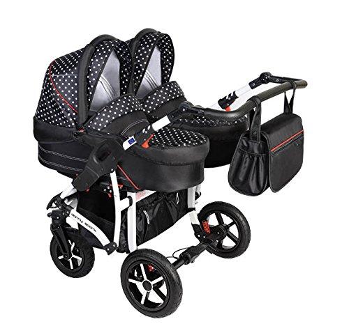 Dorjan Danny Sport Twin moderne tweelingkinderwagen broers (zijkant) Duo babywagen Buggy kinderwagen systeem + luiertas + regenbescherming + adapter universeel