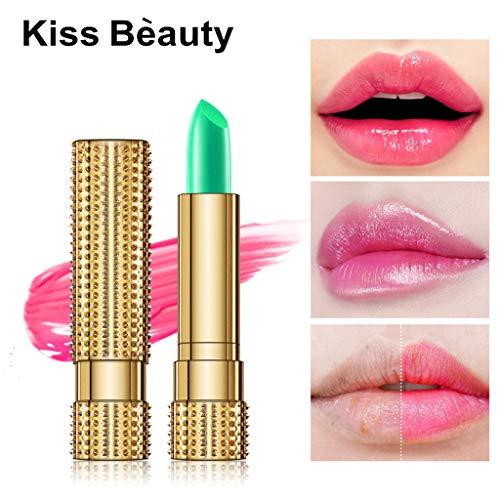 99native Lippenstift, Schönheit helle Crystal Jelly Lippenstift Magic Temperatur ändern Farbe Lippenbalsam langer halt Feuchtigkeitsspendender und pflegender Lippenstift (Grün)