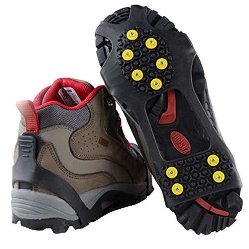 Traction Cleats, Snow Grips Ice Creepers Over Shoe Boot, Anti Slip 10 Studs Rubber Crampons for Footwear (XLarge, Black)