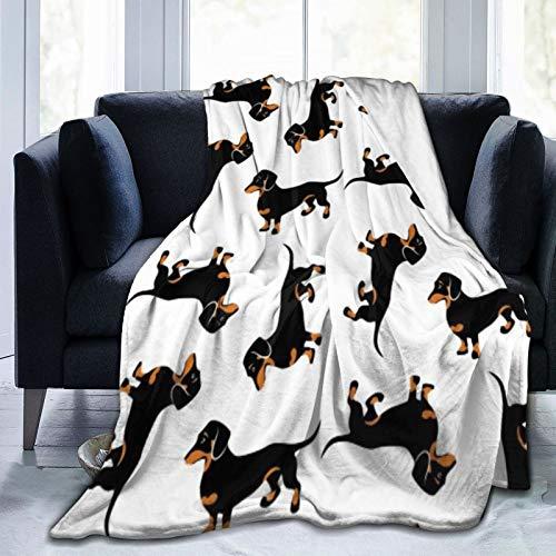 Bernice Winifred Manta de Forro Polar Ultra Suave de Perros Salchicha con Revestimiento Liso Negro y Tostado Hecho de Franela Anti-Pilling, más cómoda y cálida.80x60
