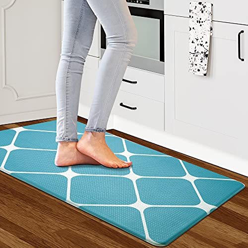 YAKAI Kitchen Mat Cushioned Anti Fatigue Kitchen Rug, Kitchen Rugs and Mats Non Skid Washable PVC Ergonomic Comfort Memory Foam Rug for Kitchen Floor, Home, Office, Sink, Laundry, Navy Blue