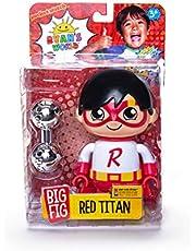 Ryan's World 200058.006 Mega Tajemnica, 3 figurki do zbierania panda, Kapitan Ryan, czerwony tytan