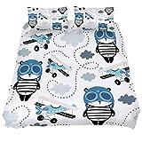 Parure de lit 3 pièces en microfibre avec housse de couette et 2 taies d'oreiller avec panda avec casquette pilote avion pour femme et homme, Tissu, Multicolore, King 被套(102 x 87) + 2 枕套(20 x 35)inch