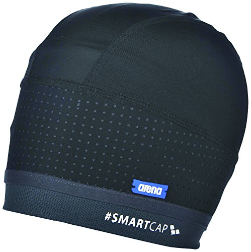 arena Unisex Badekappe Smartcap Swimming (Extraweich, Haarband für lange Haare, Red Dot Design Award), Black (500), M/40