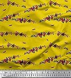Soimoi Gelb Seide Stoff bunt Vogel Stoff drucken Meter 42
