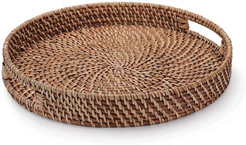 14.6 inches Rattan Round Bread Serving Tray Vintage Style Handcrafted Serving Basket Platter with Cut-Out Handles, Storage Organizer Basket