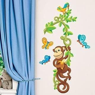 Main Street Wall Creations Jumbo Stickers -Monkey Tree Butterflies Bird Jungle