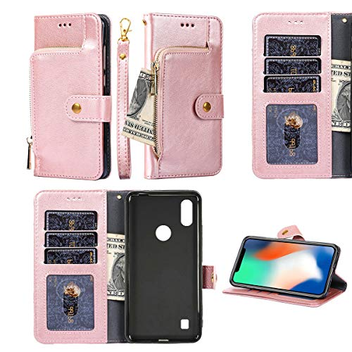 Oujietong Case for ZTE Blade A3 Prime A3Y Gabb Z2 5.45' Case Silicone TPU + Flip Cover Stand Shell Zipper Wallet Pink