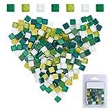 GORGECRAFT 220 azulejos de mosaico de cristal con purpurina, forma cuadrada, para manualidades, cocina, ducha (mezcla verde, 10 x 10 mm)