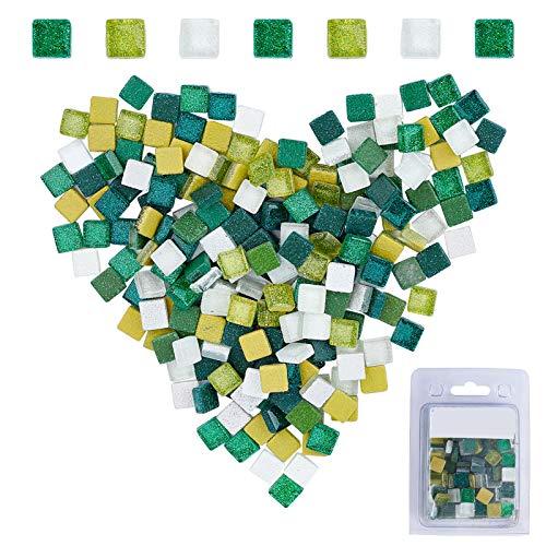 GORGECRAFT 220 piezas de azulejos de mosaico de cristal con purpurina en forma cuadrada para manualidades, ducha de cocina (mezcla verde, 10 x 10 mm)