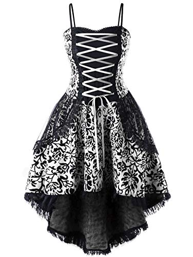 Soluo Women Steampunk Gothic Victorian Long Dress Sleeveless Vintage Lace Medieval Plus Size Dresses - black - 4X-Large
