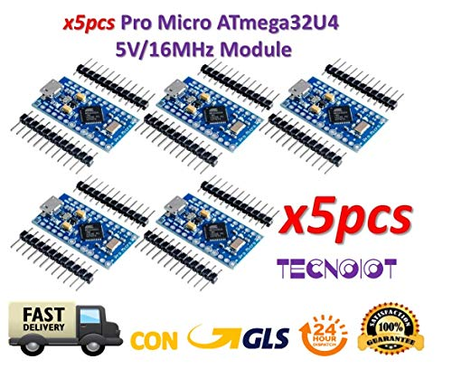 TECNOIOT 5pcs Pro Micro ATmega32U4 5 V/16MHz Module with Pin Header for Leonardo