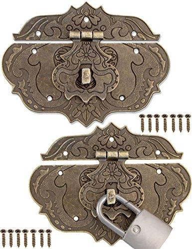 FUXXER® - 2x Antik-Verschlüsse, Bronze Eisen Design, Möbel-Verschlüsse, Beschläge für Vorhänge-Schloss Schlösser an Truhen Kisten Schieber, 95 x 73 mm inkl. Schrauben, 2er Set
