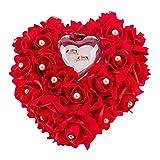 Almohada de anillos de boda ZJchao 15x 13cm, con forma de corazón, Rojo, talla única...