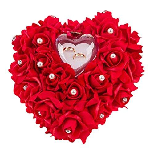 ZJchao 15 x 13 cm Kissen für Hochzeitsringe, Ringkiste, romantische Rosen Herzform Geschenk Ringbox romantisch Rose rot Einheitsgröße für Hochzeitsringe