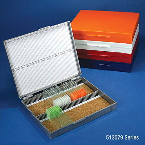 Globe Scientific 513079N ABS Plastic Cork Lined Slide Storage Box for 100 Slides, Orange