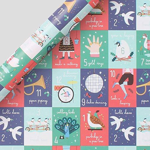 Paperchase 12 Dagen van Kerstmis Inpakpapier - 20 Rollen