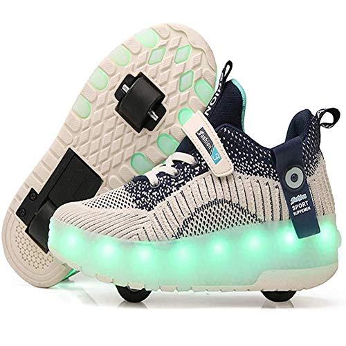 WFZGZ Unisex Kinder USB LED Schuhe mit Rollen Drucktaste Einstellbare Skateboardschuhe Outdoor Gymnastik Turnschuhe für Mädchen und Jungen,Blau,US8/EU39