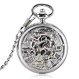 Reloj de Bolsillo Hueco Plata Chino Dios Bestia Kirin Diseño Mecánico Bolsillo De Cuerda Manual Punk Colgante Reloj Recuerdo Regalo Antiguo Unisex
