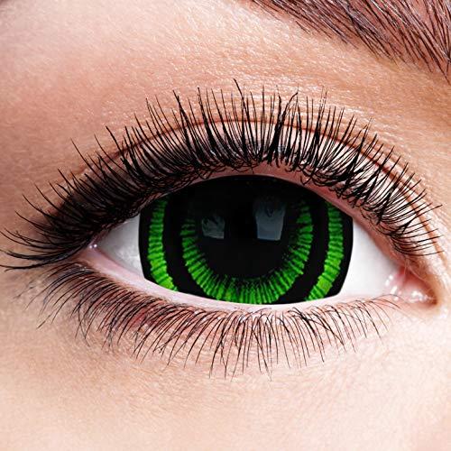 Farbige Kontaktlinsen ohne Stärke mit Green Werwolf Motiv schwarzer Rand Mini Sclera Linsen Halloween Karneval Fasching Cosplay Grüne Augen Horror Zombie Vampir Eyes Grün Schwarz 17mm