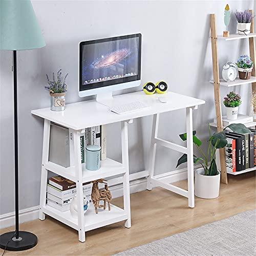 Escritorio de Oficina, Mesa para Ordenador, MDF, 112 * 50 * 76cm, con Dos estantes