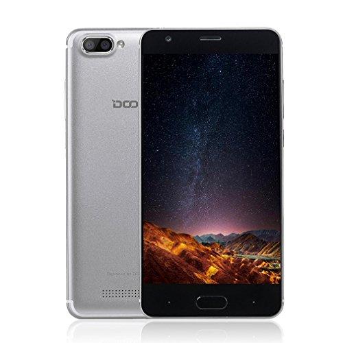 DOOGEE X20 Android 7.0 3G Smartphone Libre Teléfonos Móviles 5.0 Pulgadas IPS Pantalla MT6580 1.5GHz 2GB RAM 16GB ROM +5.0MP Cámaras 2580mAh Batería Dual SIM Inteligente Celular-Plata