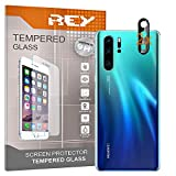 REY 2X Protector de Pantalla 3D para Huawei P30 Pro, Negro, Cámara de Fotos Trasera, Protección Completa, 3D / 4D / 5D