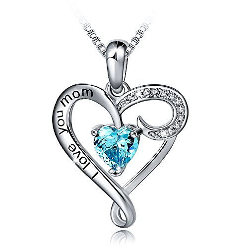 Mother's Birthday Gift I Love You Mom S925 Sterling Silver Heart Pendant Necklace (I Love You Mom-Blue Heart)