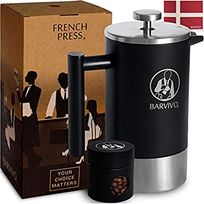 BARVIVO Barista French Press Coffee Maker - Best for Brewing Your Favorite Cup of Coffee or Tea - Comes with a Small Portable Travel Jar - The Black Double Insulated Stainless Steel body holds 34oz