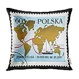 Kinhevao Cojín Decorativo Moscú Rusia 18 de Agosto Sello Impreso en Polonia Muestra el Mapa Mundial y el velero Opty Leonid Pillow