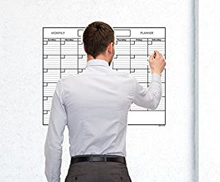 """SwiftGlimpse 18"""" x 24"""" Medium Blank Reusable One Month Undated Wall Calendar Wet Erase Laminated Monthly Wall Planner Incl..."""