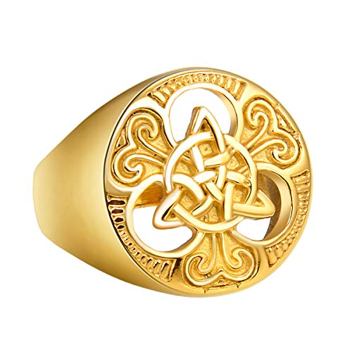 Valily Gold Celtic Knot Ring for Men Stainless Steel Irish Amulet Jewelry Symbol Big Celtic Ring Size Z 1/3