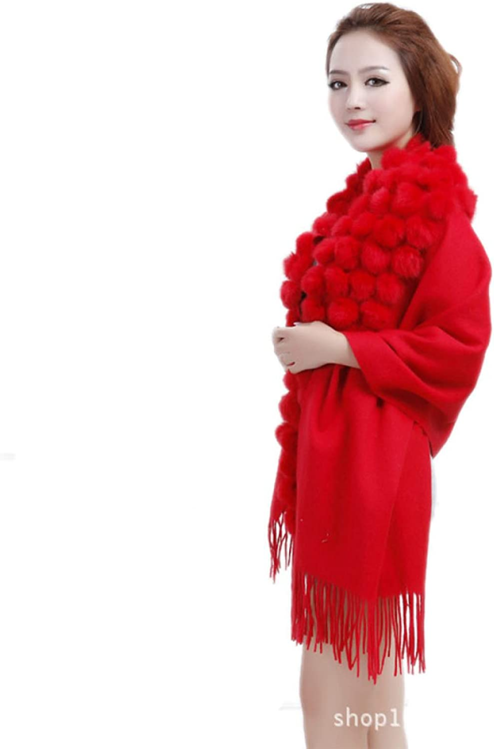 Woman Autumn And Winter Scarf Increase Thicker 120 Balls Bride Wedding Solid color Fashion Shawl,1OneSize