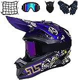 Aishengjia Motorcycle Cross Helmet Set with Goggles, Gloves, Motorcycle Net, Full Face MTB BMX Helmet, Motorcycle Helmet for Quad ATV Downhill Enduro Sport