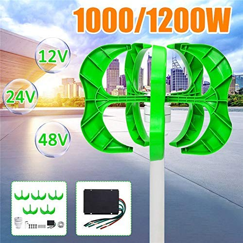 FSFF ing Generador de Viento 5 Palas, 1200W / 1000W Generador de Viento 5 Palas generador 12 / 24V / 48V Linterna aerogenerador Eje Vertical para + Controlador ветрогенератор