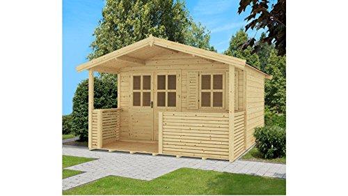 Outdoor Life PRODUCTS Set: Gartenhaus Saba 2, BxT: 380x300 cm, 28 mm, inkl. Terrasse + Vordach Natur