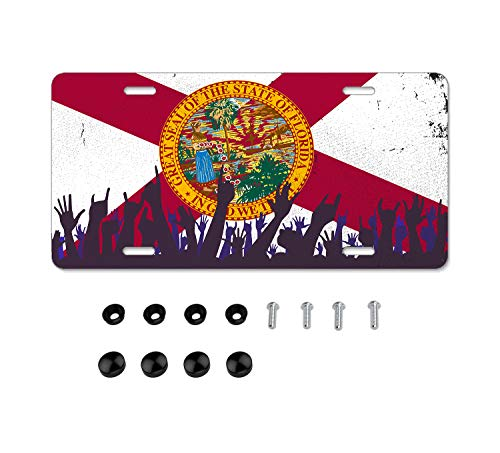DZGlobal Florida State Flag License Plate Frame Sunshine State License Plates Cover Red Car Frames Beautiful Auto Tag Aluminum Jeep Tags 4 Holes with Screws for Men Women