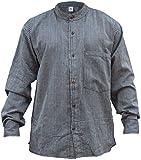 Shopoholic Fashion Herren-/Hippie-/Großvaterhemd, gestreift Gr. 58, grau/blau