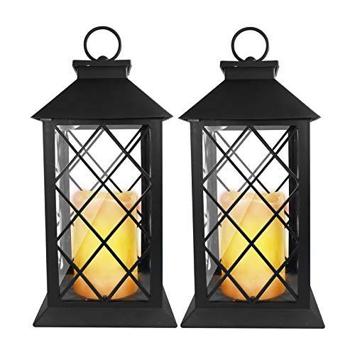 Eaxus®️ 2er Set Laterne mit warmweißer LED Kerze. Garten & Wohnzimmer Deko Lampe mit Flammeneffekt