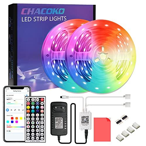 Tira LED 15M, CHACOKO 24V Tiras de LED RGB 5050, Sincronización de Música, 16 Millones de Colores, Mando a Distancia de 44 Teclas, 23 Escenarios del Sistema, Modo de Temporización, para Casa, Fiesta