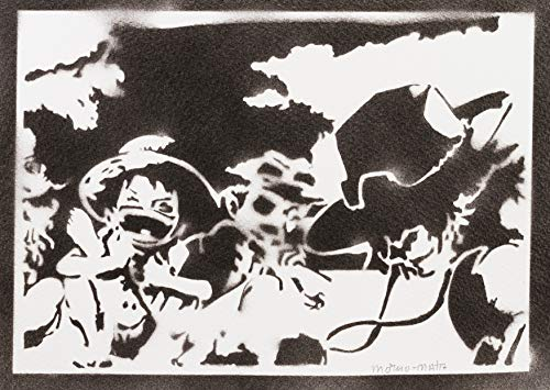 Poster One Piece Luffy Ace y Sabo Grafiti Hecho a Mano - Handmade Street Art - Artwork