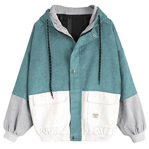 Moonuy,Damen Long Sleeve Hoodies, Damen Cord Patchwork Oversize Zipper Jacke Windbreaker Crop Mantel Lässige Mantel für Party, Beach Damen Mädchen Sweatshirt (Blau, EU 38 / Asien L)