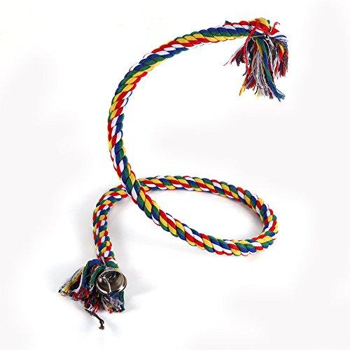 Fdit nieuwe kleurrijke vogel spiraal touw baars kleine huisdier vogel papegaai opknoping katoenen touw schommel klimmen kauwen staande speelgoed met bel ideaal voor ontspannen of werken op evenwicht en behendigheid