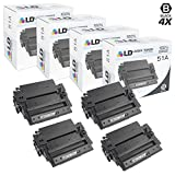 LD Compatible Toner Cartridge Replacement for HP 51A Q7551A (Black, 4-Pack)