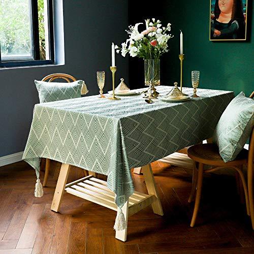 Kuingbhn Mantel para Mesa de Fácil Limpieza Borla Jacquard Pastoral Manteles Estampados Antimanchas Verde 90 × 90cm