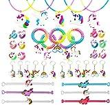 Funnyshow Lot de 40 Licorne Kit, Licorne Bracelet Caoutchouc Silicone Attache Spirale Pince à Cheveux Licorne Porte-Clés Licorne Anneaux