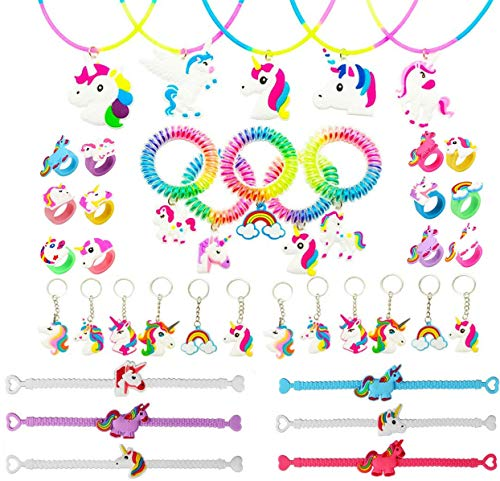 Funnyshow 40 Piezas Llavero Unicornio Pulsera Unicornio Anillo Collar Espiral Pelo Corbatas Silicona para Unicornio Infantiles Cumpleaños Fiesta Regalo