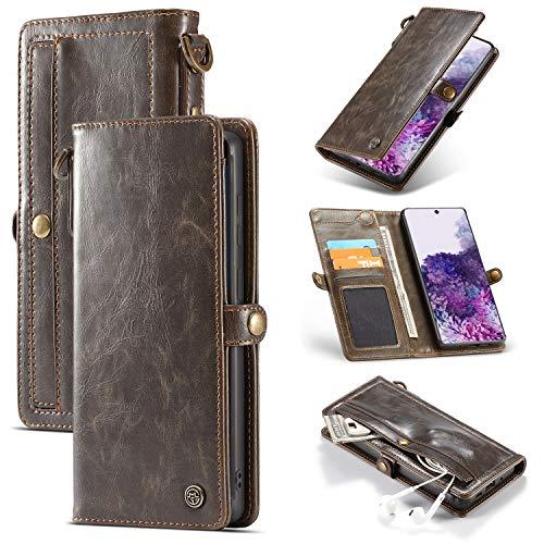 For la cubierta protectora de Samsung S20plus cartera, [8 ranuras for tarjetas] PU titular de la tarjeta de crédito Identificación de cuero, súper fuerte caja del teléfono monedero extraíble magnética